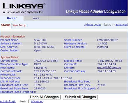 Linksys spa3102 configuration