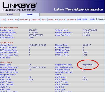 Linksys spa3102 sip configuration