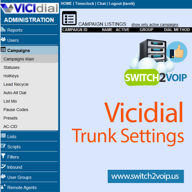 Vicidial setup sip trunk configuration settings