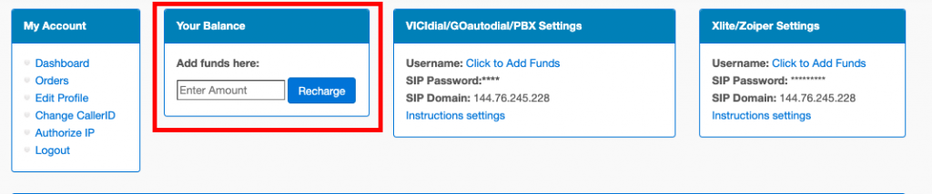 Adding credits to voip account
